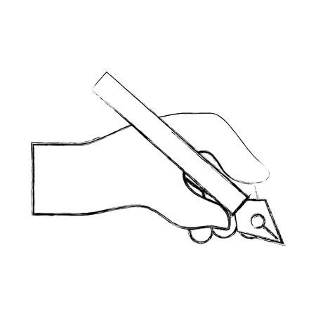 hand holding pen steel basic tip artistic creativity vector illustration hand drawing
