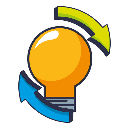 light bulb with arrows isolated icon vector illustration design