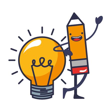 Bleistift schreiben mit Glühbirne kawaii Vector Illustration Design