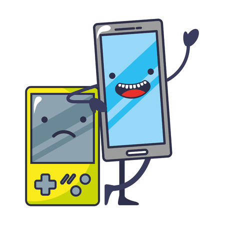 video game portable with smartphone kawaii vector illustration design