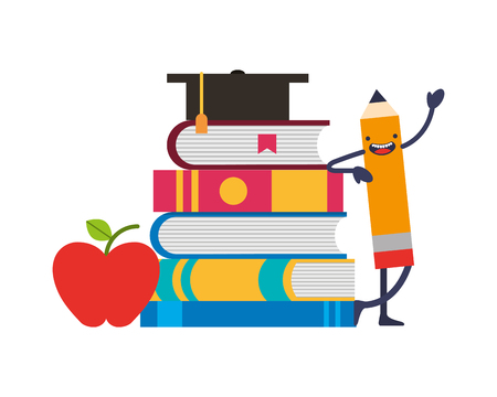 pencil kawaii and school supplies vector illustration design