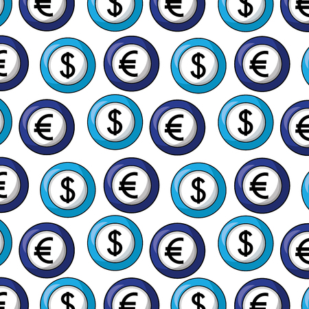 coin euro and dollar pattern vector illustration design