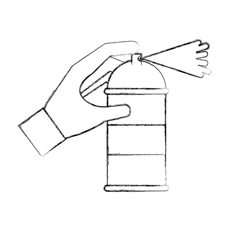 spray canister in the hand creative vector illustration hand drawing