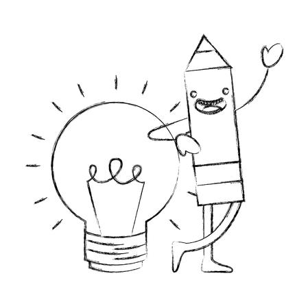 wooden pencil bulb idea cartoon vector illustration hand drawing Vetores