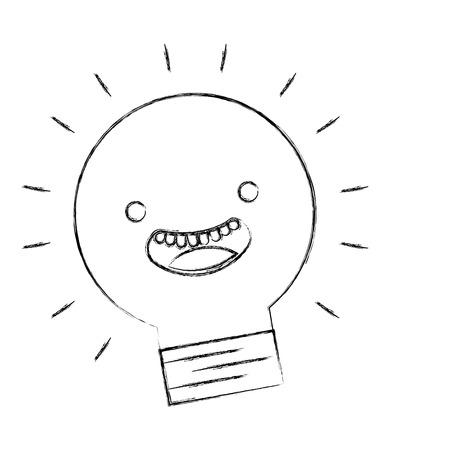 kawaii happy light bulb cartoon character vector illustration hand drawing