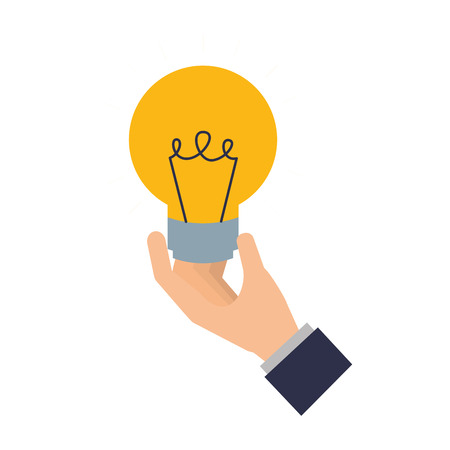hand with light bulb isolated icon vector illustration design Stok Fotoğraf - 111865190