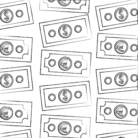 banknotes money dollar and euro foreign exchange pattern vector illustration hand drawing