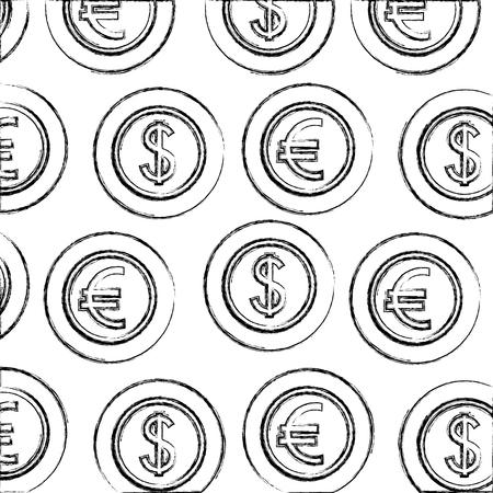 Münzen Geld Dollar und Euro Devisenmuster Vektor-Illustration Handzeichnung