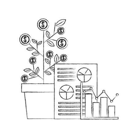 foreign exchange dollar plant paper statistics probability vector illustration   hand drawing