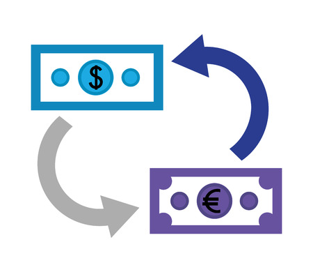 dollar and euro money with arrows isolated icon vector illustration design  イラスト・ベクター素材