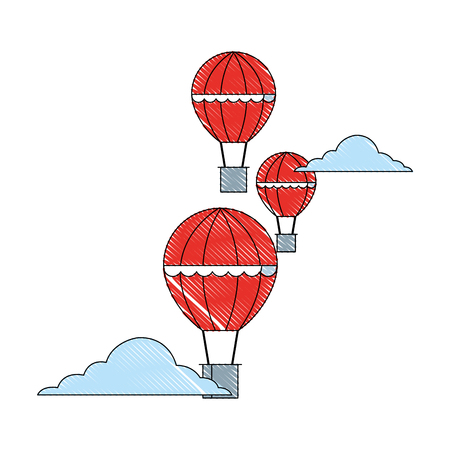hot air balloons adventure travel recreation vector illustration Banque d'images - 111865212