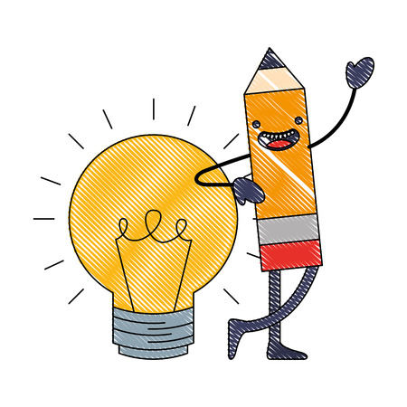 wooden pencil bulb idea cartoon vector illustration