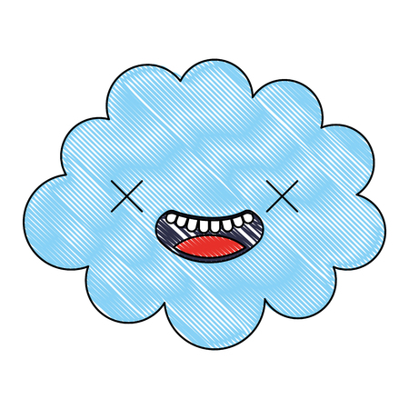 kawaii cloud cartoon character comic vector illustration Illustration