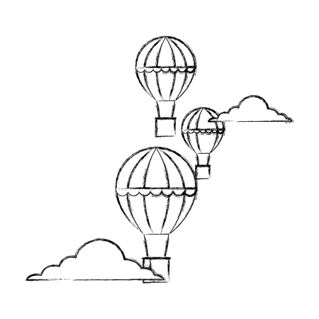 hot air balloons adventure travel recreation vector illustration hand drawing