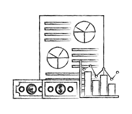 foreign exchange paper porcent probability money icon statistics vector illustration   hand drawing