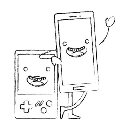 kawaii smartphone and video game console cartoon vector illustration hand drawing