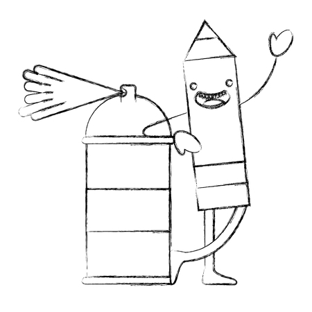 kawaii pencil cartoon character with spray painting vector illustration hand drawing