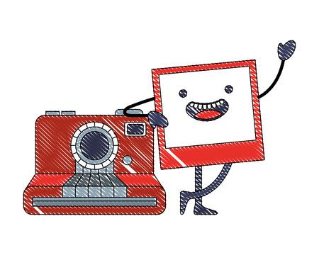 kawaii photo with camera device cartoon vector illustration Ilustração