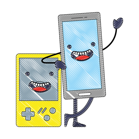 kawaii smartphone and video game console cartoon vector illustration Illustration