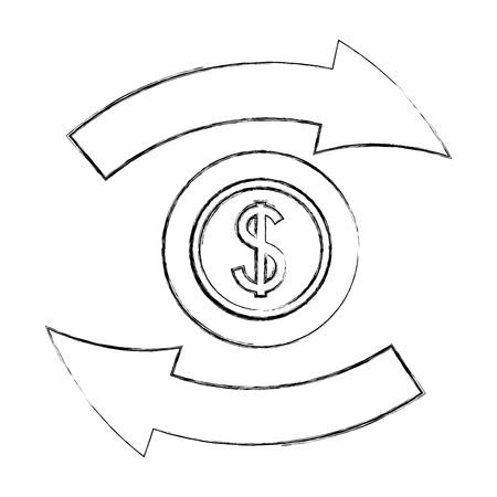 foreign exchange icon currency dollar change vector illustration   hand drawing