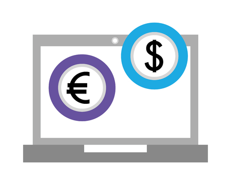 laptop computer with euro and dollar vector illustration design