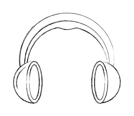 Casque audio volume sonore image vector illustration dessin à la main
