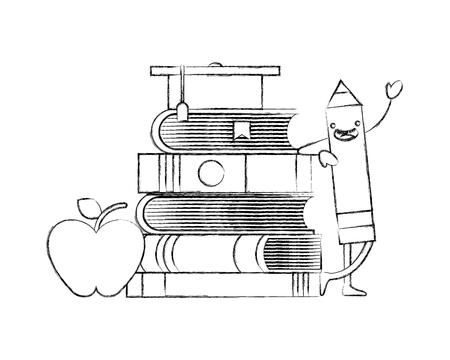 creativity education cartoon pencil books apple graduation hat vector illustration hand drawing