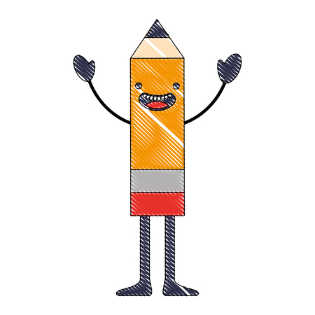 kawaii wooden pencil cartoon character vector illustration