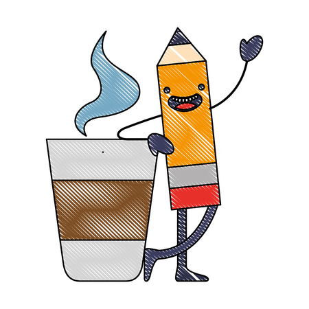 kawaii pencil cartoon character with coffee cup vector illustration Stock Illustratie