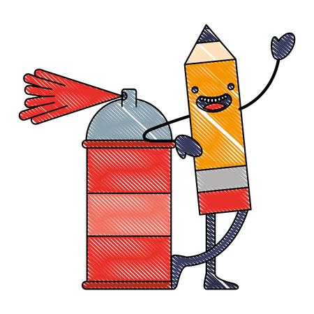 kawaii pencil cartoon character with spray painting vector illustration