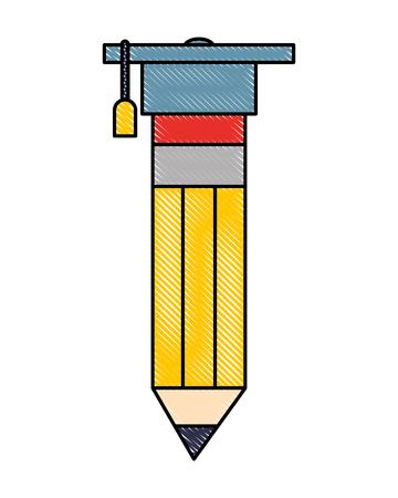 graduation hat on pencil school creativity vector illustration Illustration