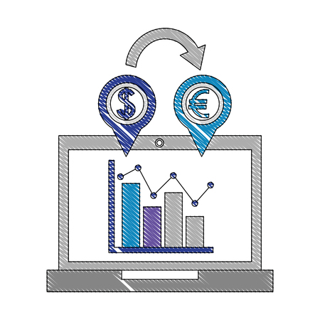 foreign exchange computer screen statistics location euro dollar icon vector illustration
