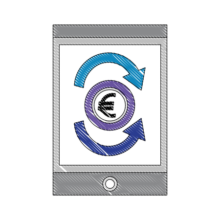 foreign exchange smartphone screen icon euro vector illustration