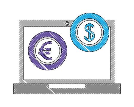 foreign exchange computer dollar euro money icon vector illustration