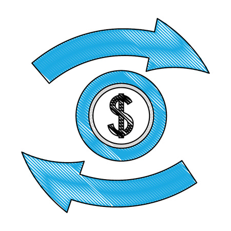 foreign exchange icon currency dollar change vector illustration