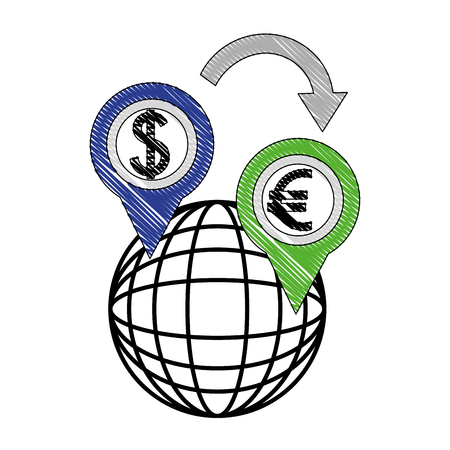 foreign exchange global icon location euro and dollar vector illustration Illustration