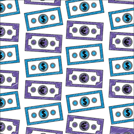 banknotes money dollar and euro foreign exchange pattern vector illustration