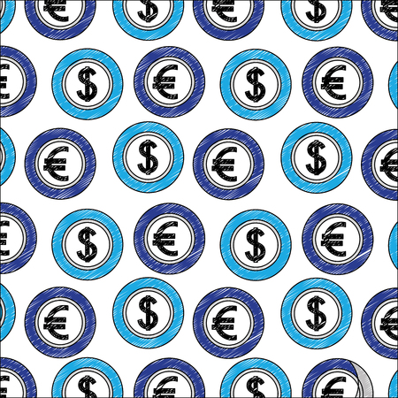 coins money dollar and euro foreign exchange pattern vector illustration