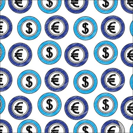 Münzen Geld Dollar und Euro-Devisen-Muster-Vektor-Illustration Vektorgrafik