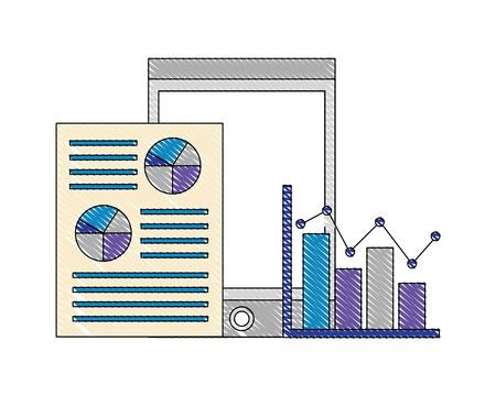 devises, smartphone, statistiques, papier, probabilité, résultats, vecteur, illustration