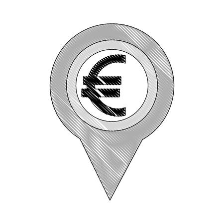 euro money europe pin location vector illustration Foto de archivo - 111865268