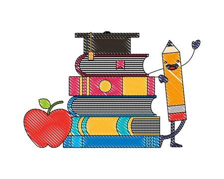 creativity education cartoon pencil books apple graduation hat vector illustration Çizim