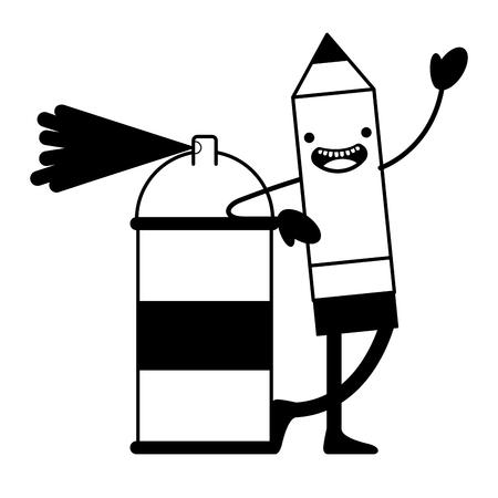 spray paint bottle and pencil  vector illustration design Illustration