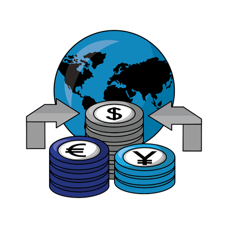 dollar euro and yen business with planet vector illustration design Foto de archivo - 106789825