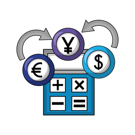 dollar euro and yen business with calculator vector illustration design
