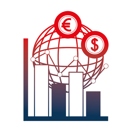 planet with dollars and euro economy vector illustration design Foto de archivo - 106767125