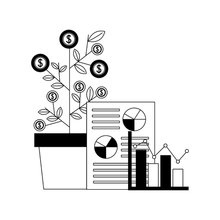 plant of coins with financial icons vector illustration design