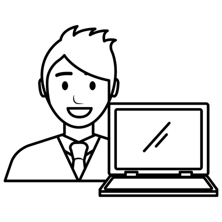 businessman with laptop avatar character vector illustration Banque d'images - 111865391