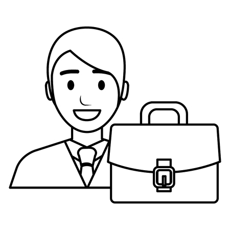 businessman with portfolio avatar character vector illustration Banque d'images - 111865392
