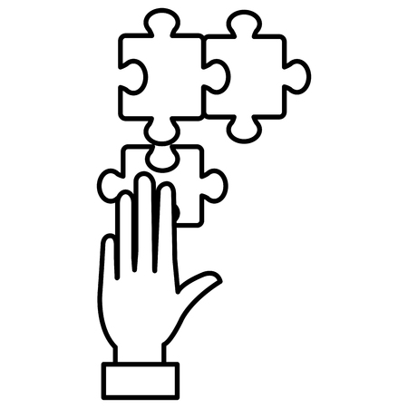hand with puzzle game piece vector illustration design Illustration